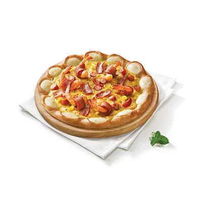 意式培根卷大虾比萨